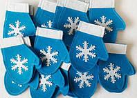 Варежка новогодняя для столовых приборов голубая