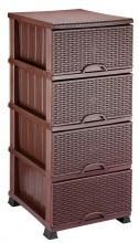 Комод Элиф пластиковый 4 ящика плетёнка коричневый (Elif Plastik)