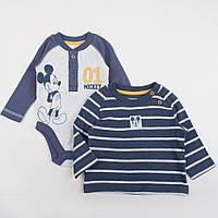 """Детский бодик и реглан с длинным рукавом для новорожденного 0-3 месяца """"Микки Маус"""""""