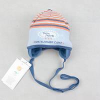 """Детская шапочка для мальчика """"Весёлые друзья"""" голубая с оранжевым"""