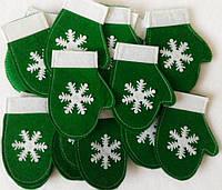 Варежка новогодняя для столовых приборов зеленая