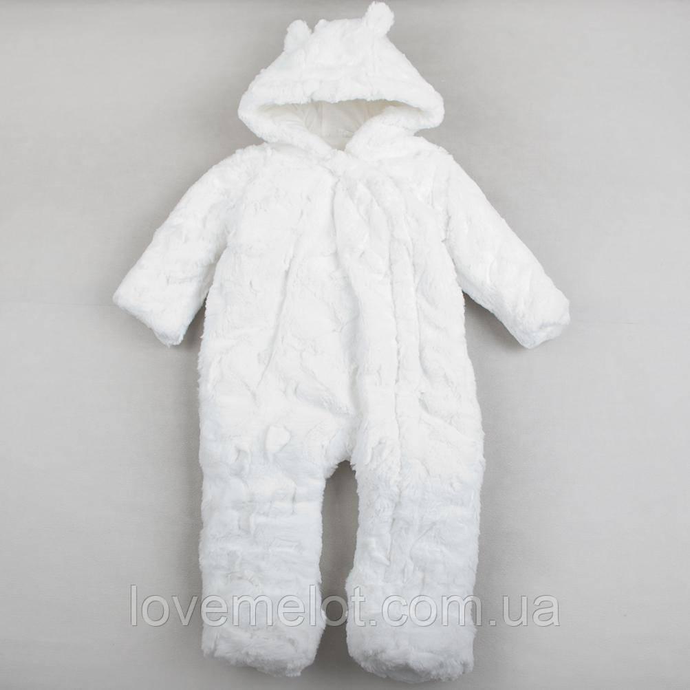 """Детский зимний теплый белый комбинезон F&F """"Сноу"""" для малыша, размер 74 см"""