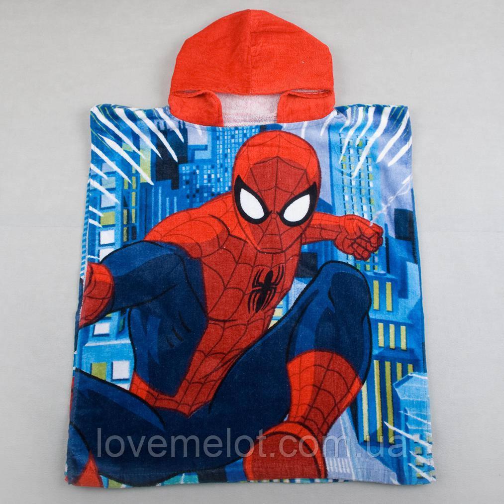 """Детское махровое полотенце, пляжное полотенце, детское пончо """"Человек-паук"""" для мальчика"""