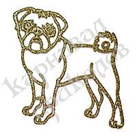 Оптовая распродажа! Украшение Собака Мопс пластик 12х9см (золото)
