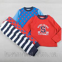 """Набор из 2х детских хлопковых пижам,  пижамки """"Будущий чемпион"""" для мальчика рост 80см или на 1 год"""