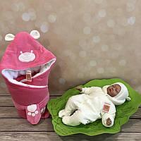 """Зимний набор для выписки из роддома  """"Панда"""" розовый с молочным, фото 1"""