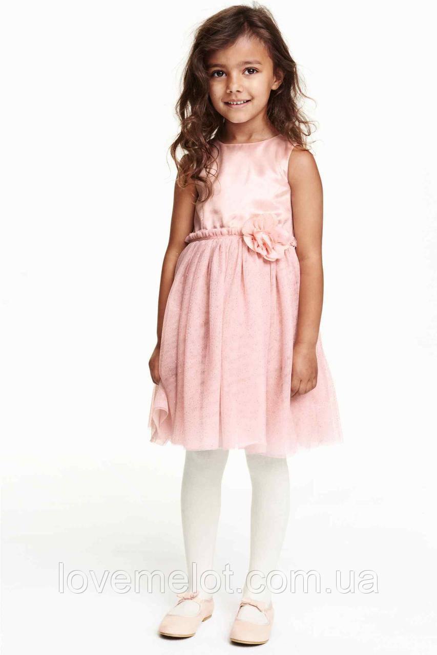 """Детское очень красивое нарядное платье H&M """"Шик"""" розовое для девочки 92 и 98см"""