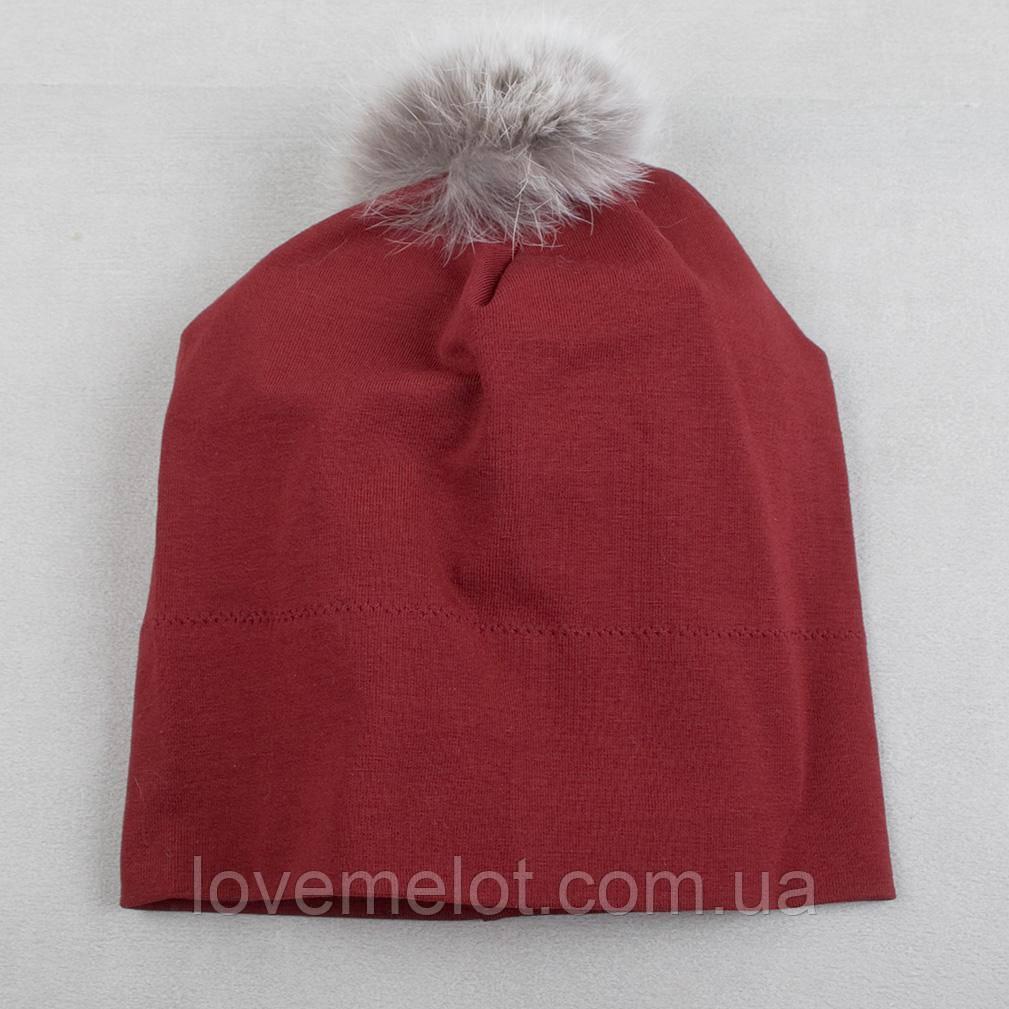 Детская трикотажная шапочка демисезонная шапка с помпоном меховым бордовая, 1-2 года