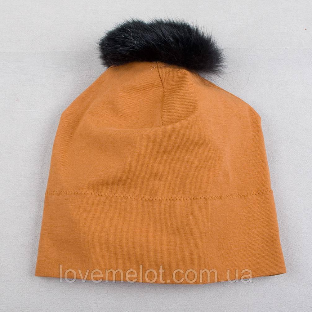 Детская трикотажная шапочка, демисезонная шапка светло-коричневая, 0-6 мес, 1-2 года, 2-3 года