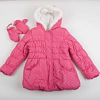 """Детская Куртка теплая на флисе """"Вилена"""" + варежки  для девочки, размер 86 см"""