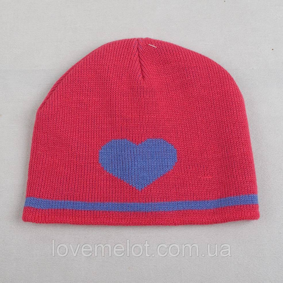 """Детская шапочка деми """"Сиреневое сердце"""" для девочки"""