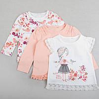 """Регланы с длинным рукавом + футболка для девочки, набор нарядный """"Маленькая птичка"""" размер 86, 92 см"""