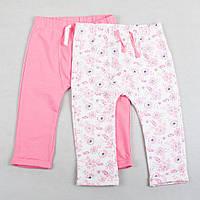 """Детские теплые штаны """"Манюня"""" бело-розовые для девочки"""