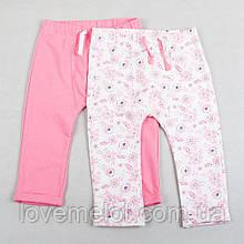 """Детские теплые штаны на рост 86см """"Манюня"""" бело-розовые для девочки"""