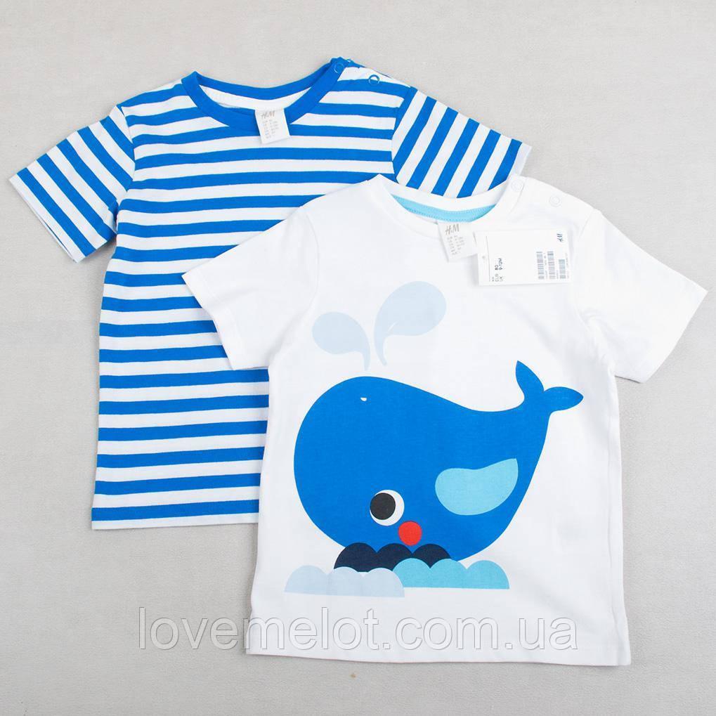 """Детские футболки хлопковые для мальчика H&M """"Морской охотник"""", набор 2 шт, размер 80 см"""