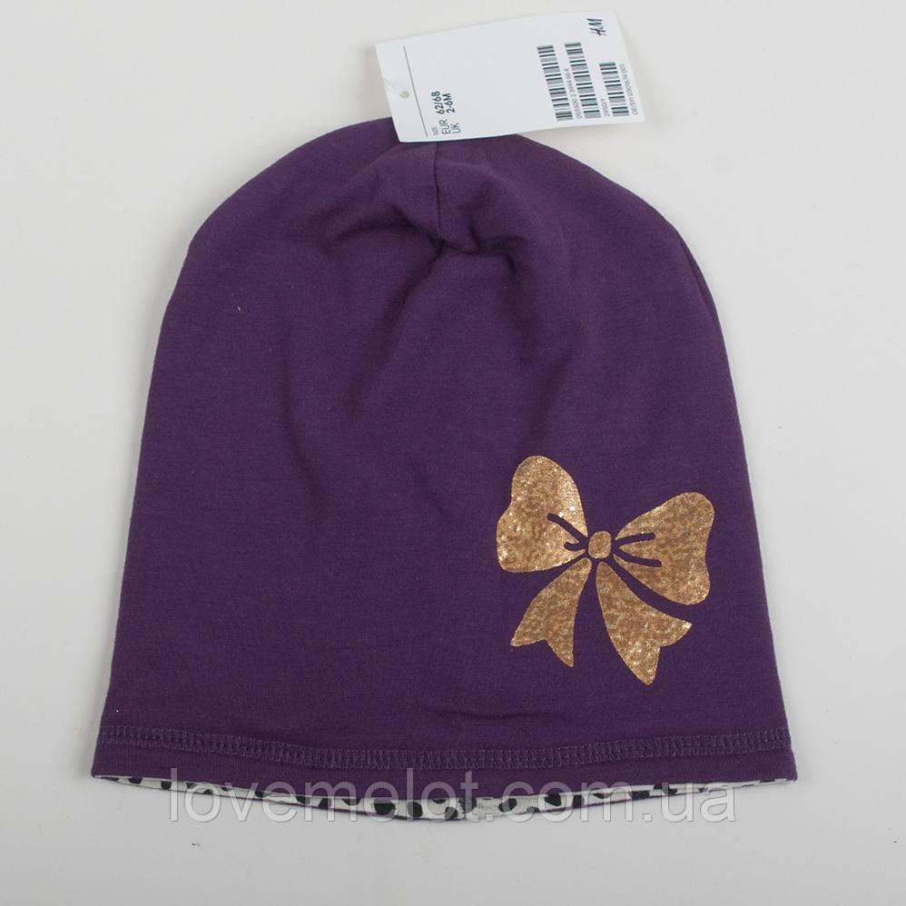 """Дитяча шапа трикотажна двостороння H&M шапочка для дівчинки """"Золотий бант""""від 2х до 24 місяців"""