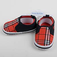"""Детские пинетки кеды для малыша, первая обувь мокасины """"Шотландец"""" красные по стельке 10,5 см и 11,5см"""