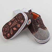 """Детские пинетки-ботинки """"Джонни"""" пинетки для мальчика коричневые по стельке 10см, фото 1"""