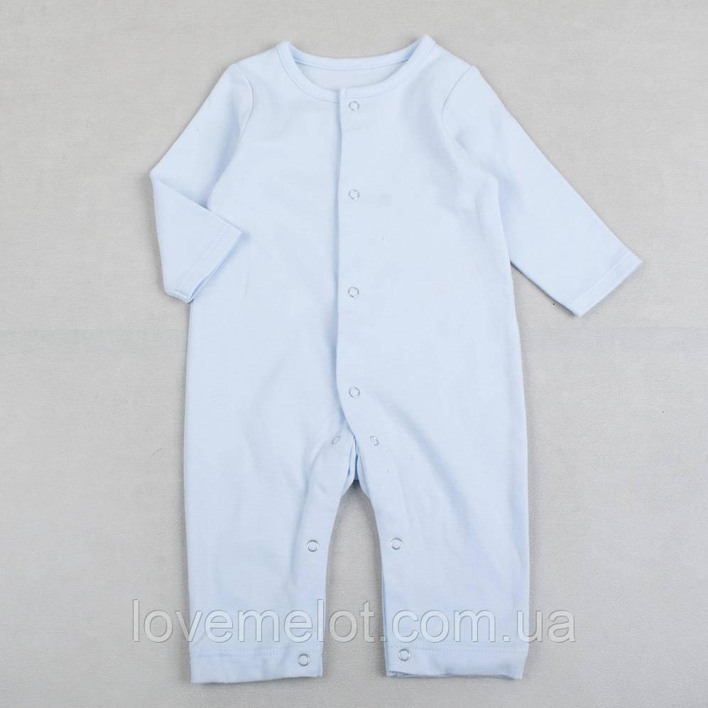 Детские человечки детские слипы без стоп, человечек голубой для мальчика на рост 68см
