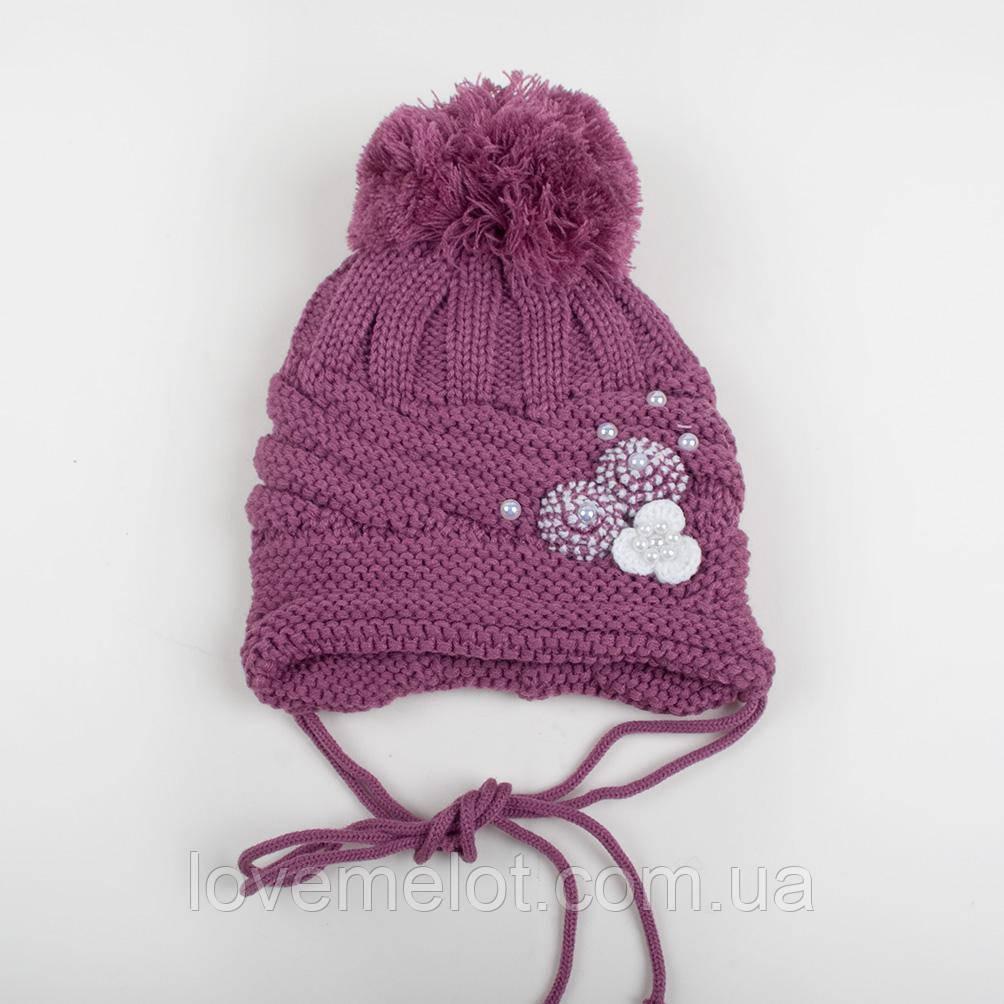 """Детская теплая зимняя шапка вязанная для девочки """"Лилия"""" размер 1-2 года"""