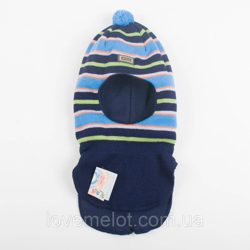 "Шапка-шлем теплая зимняя на флисе ""Бруклин"" для мальчика шапка на 1-2 года"