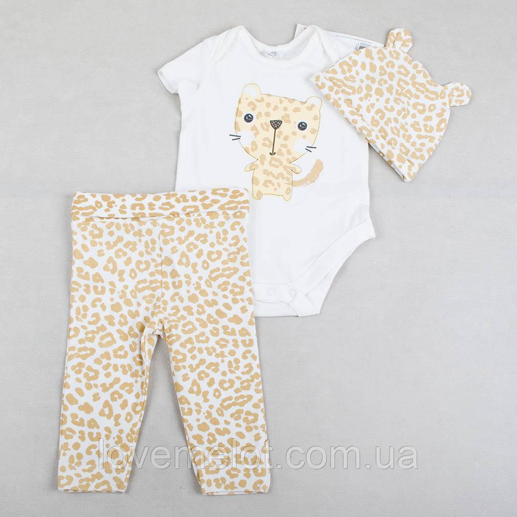 """Детский набор нарядный, набор для девочки, комплект из 3х вещей """"Леопардочка"""" для девочки, рост 68, 74, 80см"""