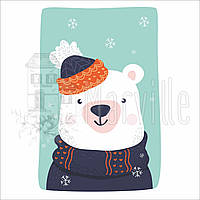 "Габардин с рисунком ""Панелька: Зимний ведмедь"" 27х40 см"