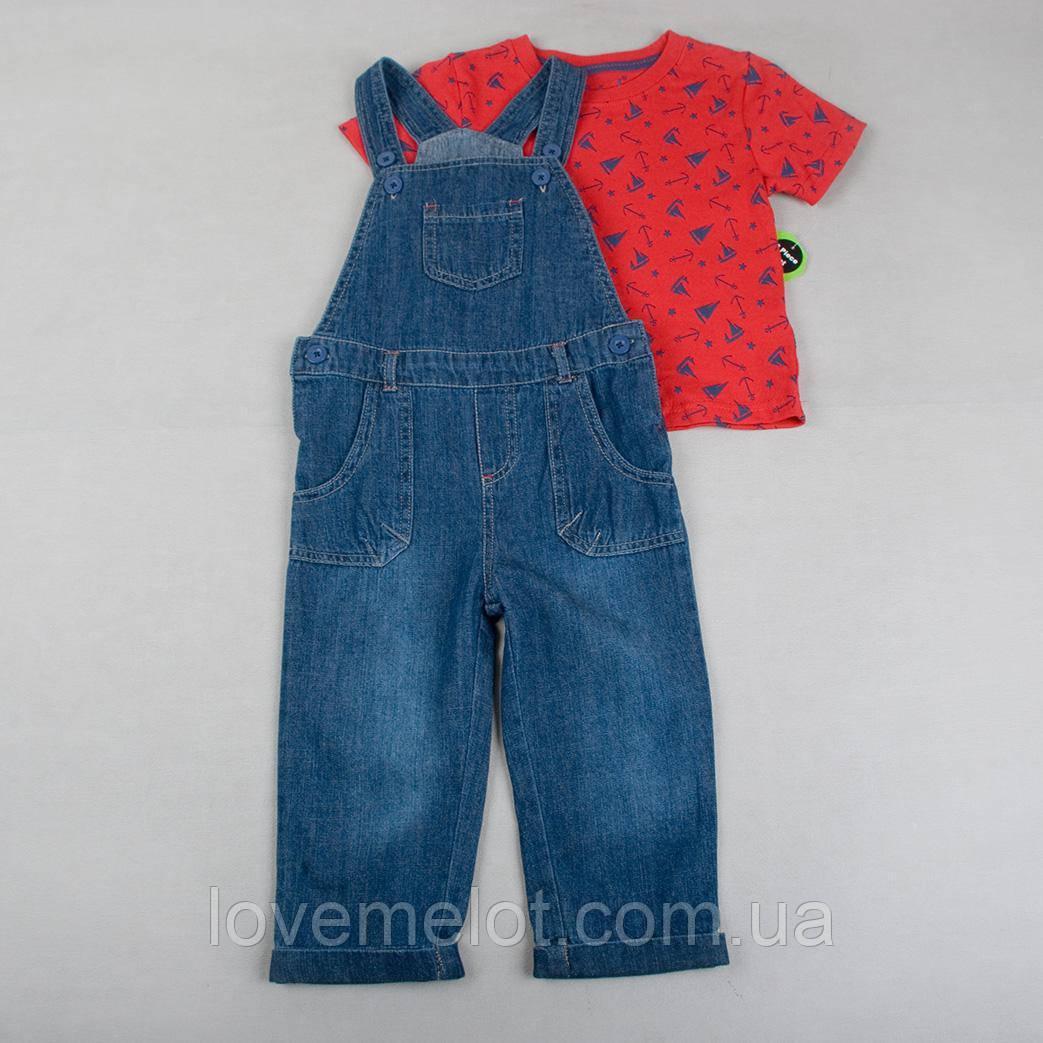 """Детский полукомбинезон джинсовый с футболкой в наборе """"Якорь"""" на 92см рост"""