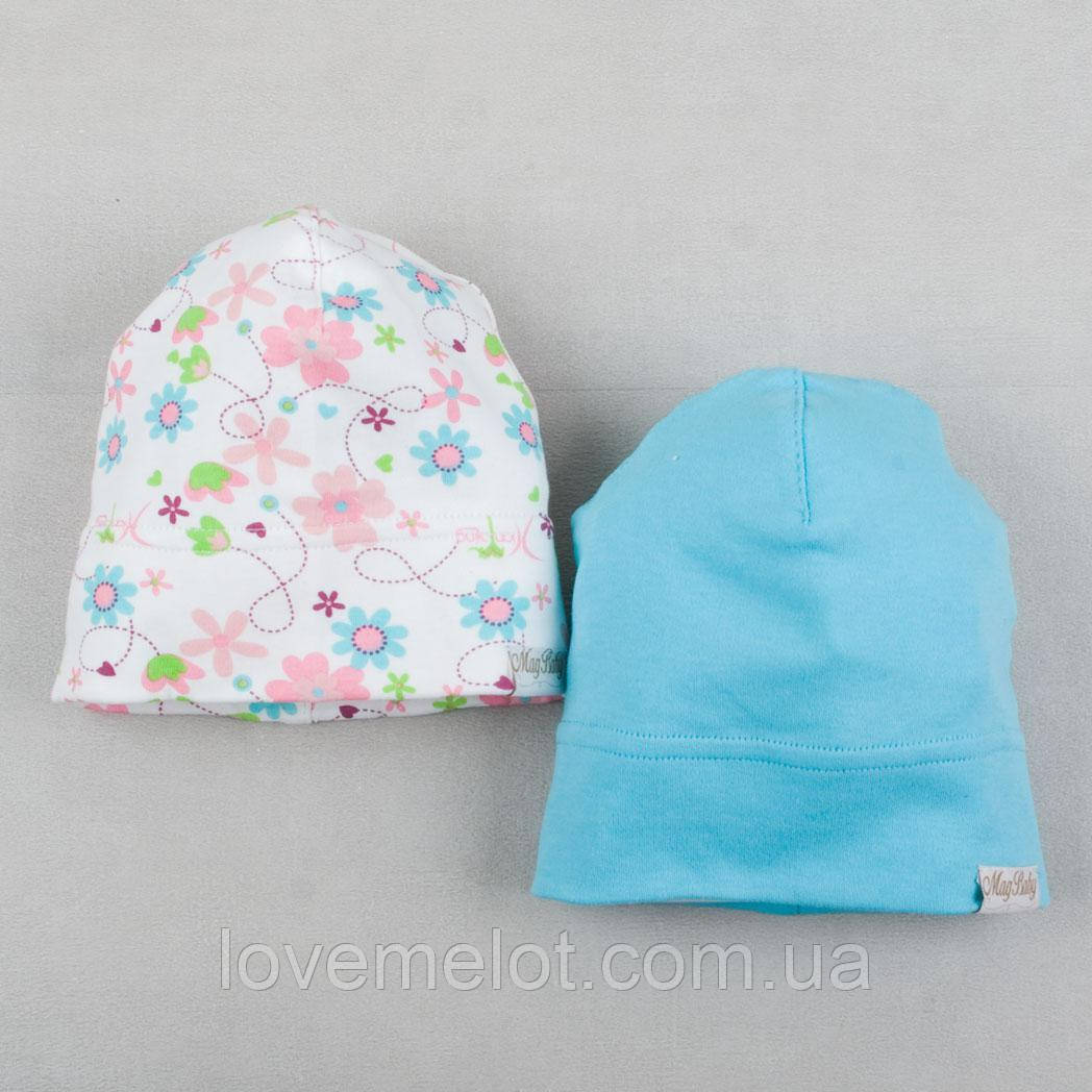 """Дитячі шапочки для дівчинки, трикотажні шапки 2шт """"Весняний настрій"""" 0-6міс, 12-24мес"""