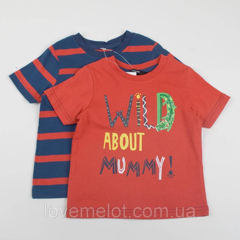 """Детские футболки, футболки для мальчика George """"Схожу с ума от мамы"""", набор 2 шт размер 80, 86, 98 и 104см"""