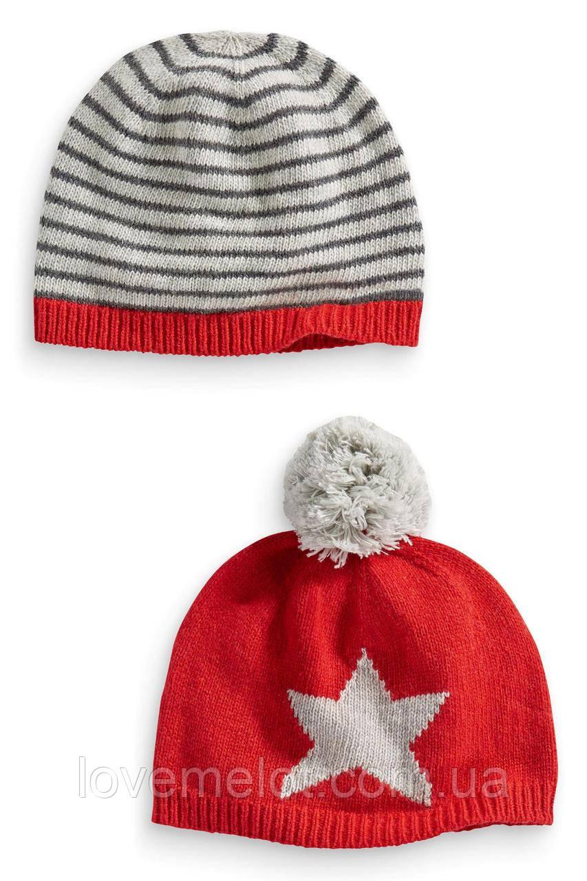 """Детские шапки Next для мальчика с шерстью """"Зимние игры"""" зима-осень в наборе 2шт. размеры от 6 мес до 6 лет"""