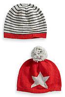 """Детские шапки Next для мальчика с шерстью """"Зимние игры"""" зима-осень в наборе 2шт. размеры от 6мес до 6 лет"""
