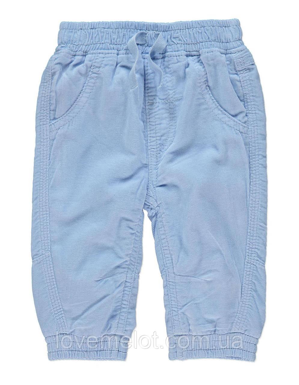 """Детские вельветовые брюки на подкладке на рост 80см  """"Голубое небо"""""""