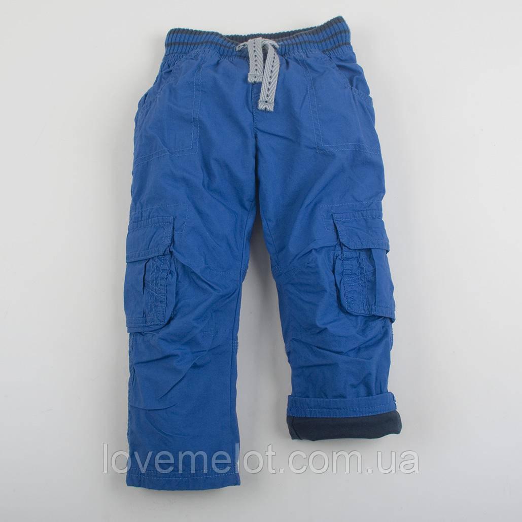 """Детские брюки на подкладке """"Джон"""" синие для мальчика на рост 92см"""