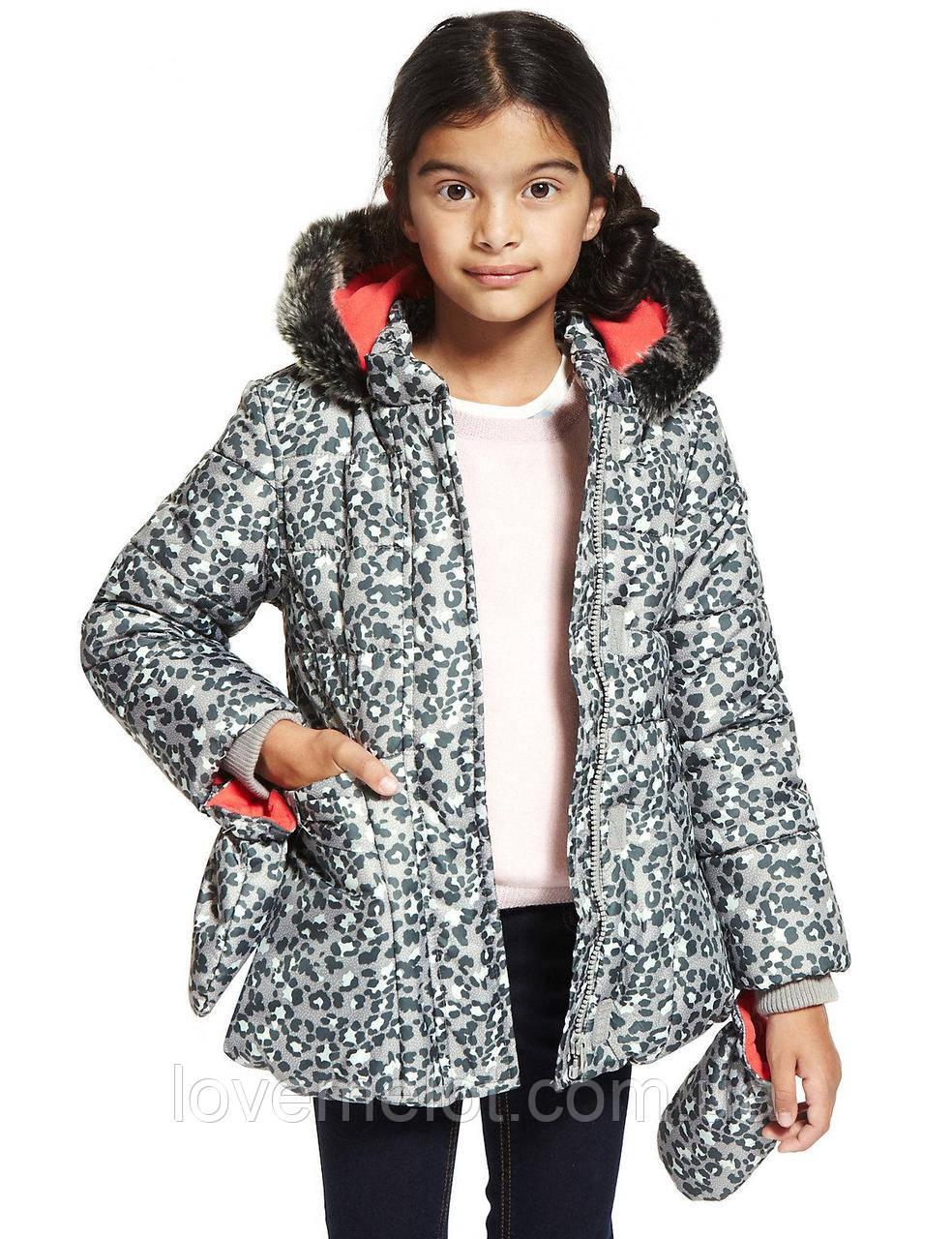 """Дитяча Куртка тепла зимова дитяча """"Гепардовый гламур"""" для дівчинки на ріст 92 і 98см"""