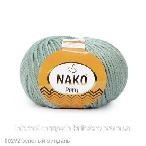 Пряжа Nako Peru Зелений мигдаль