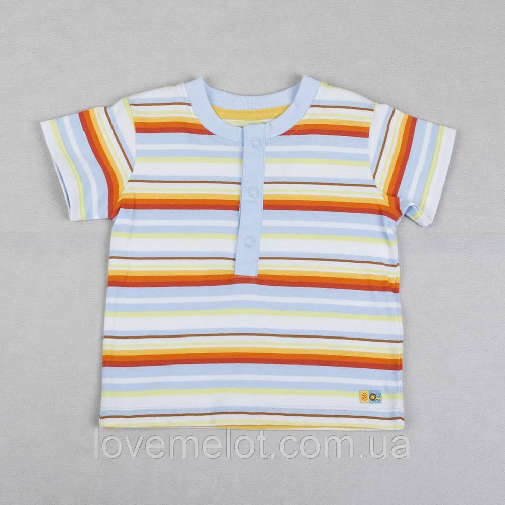"""Детская футболка на пуговицах для мальчика Marks&Spencer """"Обнимашка"""" полосатая, размер 68 см"""