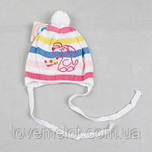 """Детская шапка для девочки шапочка вязанная деми  """"Щенуля"""" размер на 1-2 года"""