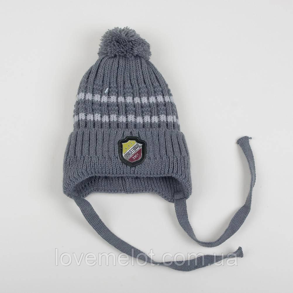 """Детская теплая зимняя шапка на флисе для мальчика """"Арктика"""" светло-серая размер 3-6 лет"""