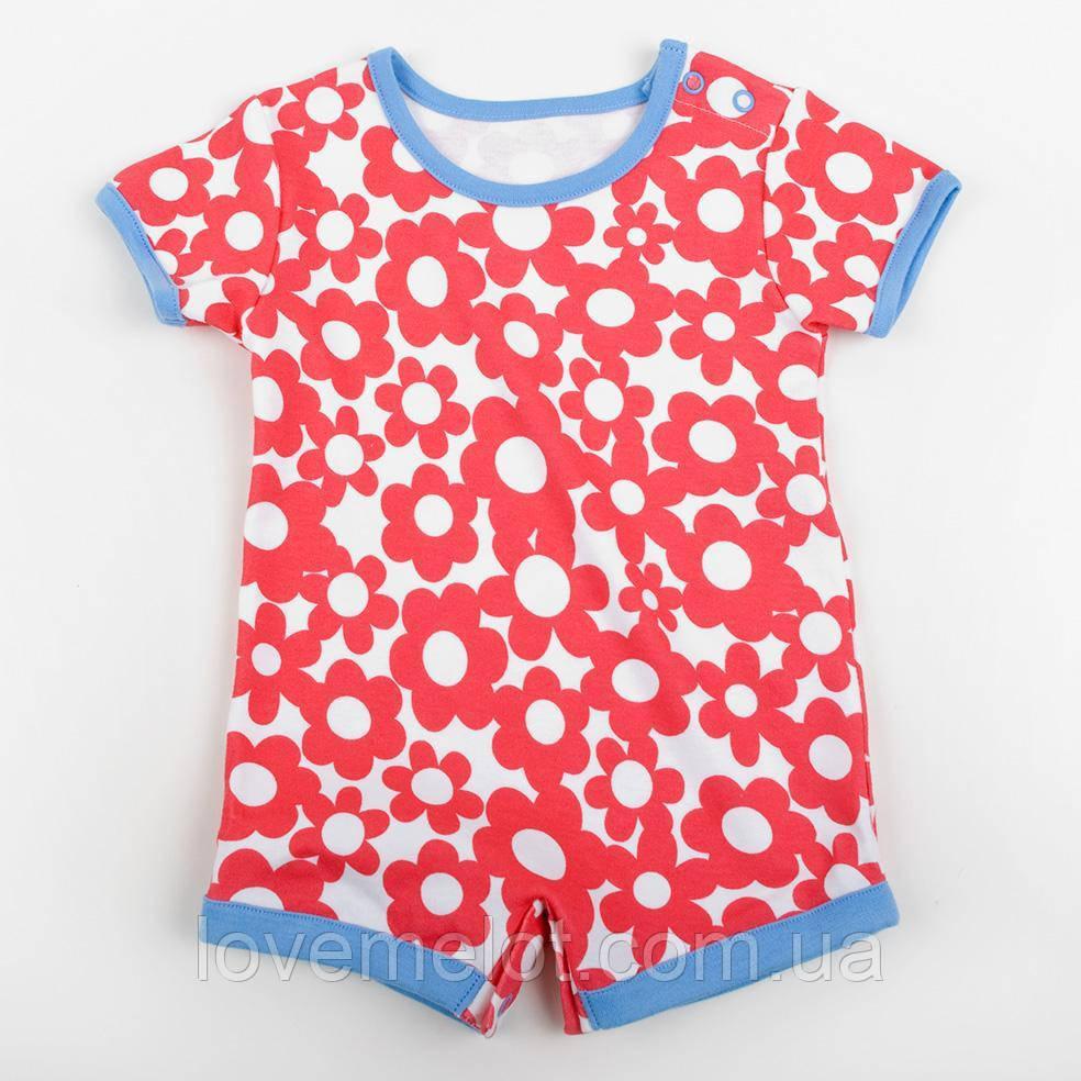 """Дитячий пісочник для дівчинки ромпер річний зростання 62cm, 74 см """"Червоні ромашки"""""""