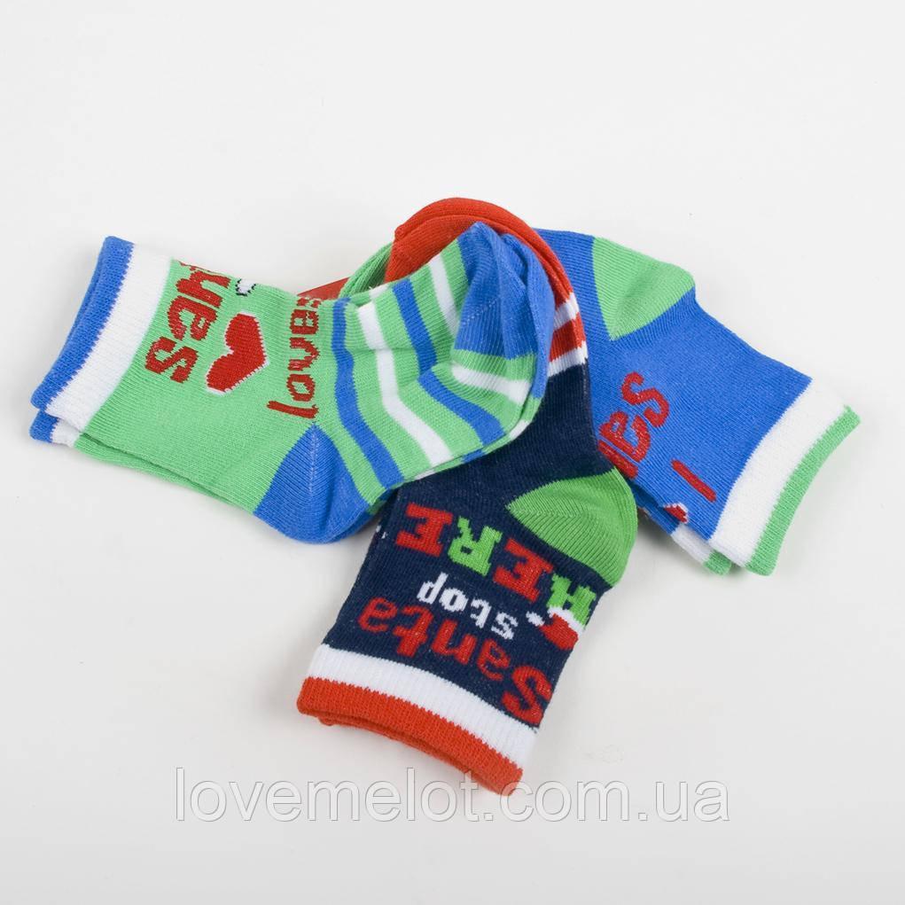 """Дитячі шкарпетки, набір шкарпеток 3 пари """"Люблю Санту"""" 0-6 міс., 6-12 міс., 1--2 роки"""
