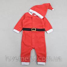 Человечек детский новогодний флисовый, карнавальный костюм с колпаком H&M Санта и Дед Мороз рост 74, 80, 92см