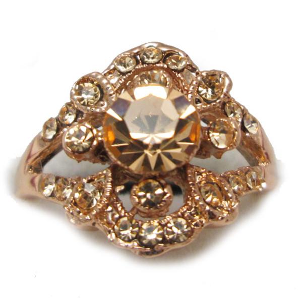 Кольцо Женское Ажурное под Розовое Золото 14К с Золотистыми Фианитами Размеры 17, 18