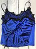Яркая  атласная пижама с французским кружевом, фото 2