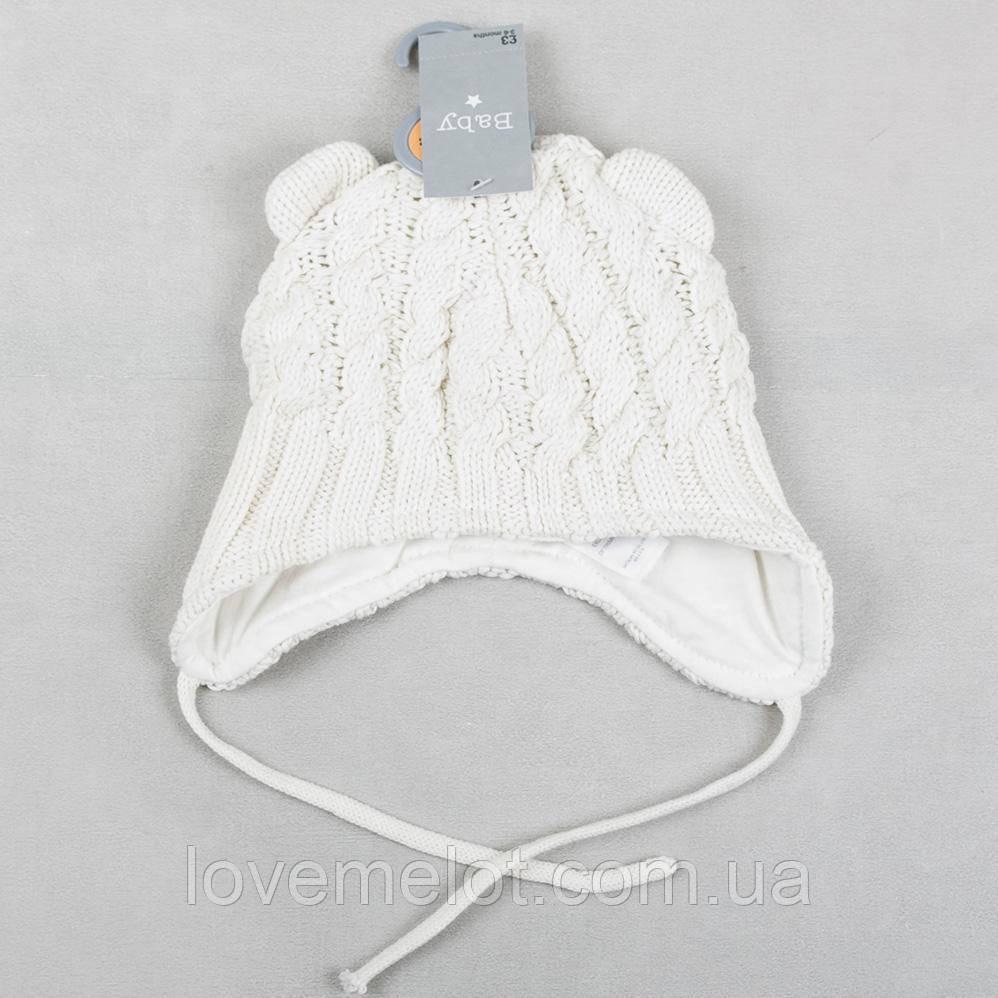 """Вязанная детская шапка на подкладке зима-осень для новорожденного шапочка для  0-6 месяцев """"Крошка"""" молочная"""