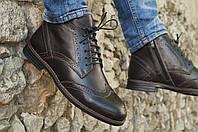 Туфли мужские зимние кожаные броги / коричневые