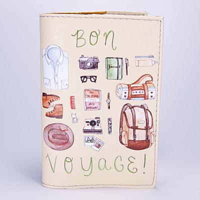 "Обложка на паспорт, бежевая, ""Bon Voyage"", экокожа"