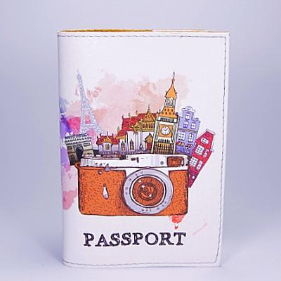 """Обложка на паспорт, """"Фотоапарат. Карта мира"""", экокожа"""