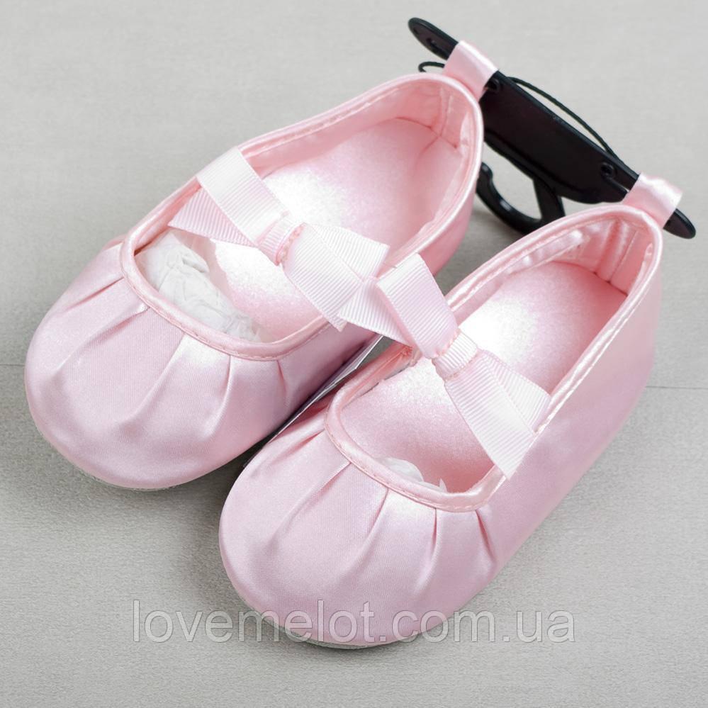 """Дитячі пінетки-туфельки """"Рожевий бант"""" для дівчинки, розмір 6-9 міс"""