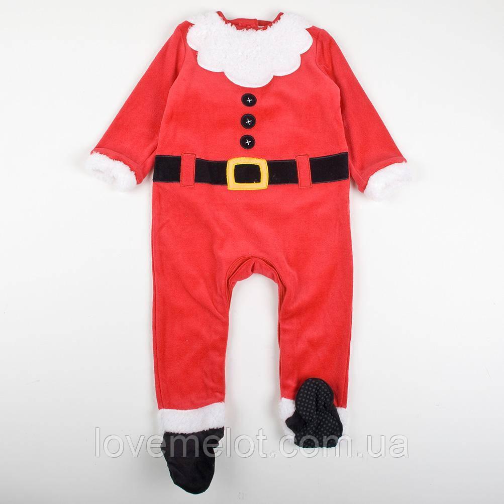 """Детский новогодний Человечек велюровый карнавальный """"Маленький Санта"""", рост 92 см"""